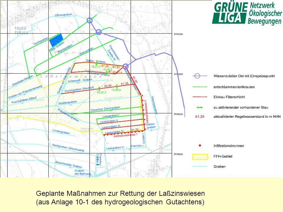Geplante Maßnahmen zur Rettung der Laßzinswiesen (aus Anlage 10-1 des hydrogeologischen Gutachtens)