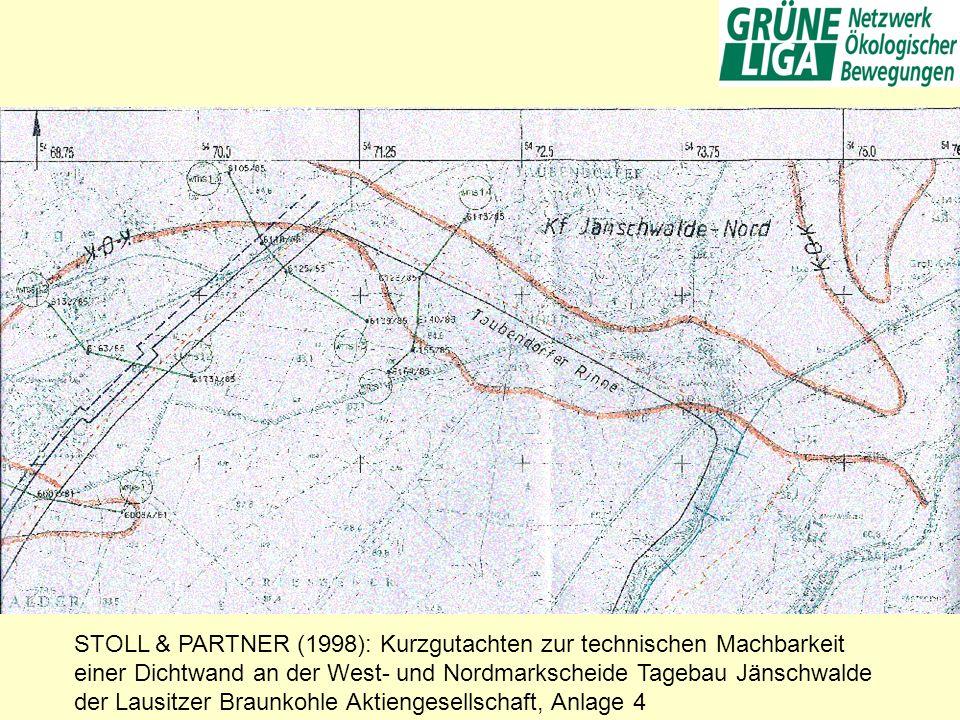 STOLL & PARTNER (1998): Kurzgutachten zur technischen Machbarkeit einer Dichtwand an der West- und Nordmarkscheide Tagebau Jänschwalde der Lausitzer B