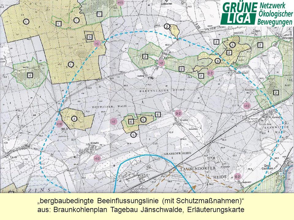 bergbaubedingte Beeinflussungslinie (mit Schutzmaßnahmen) aus: Braunkohlenplan Tagebau Jänschwalde, Erläuterungskarte