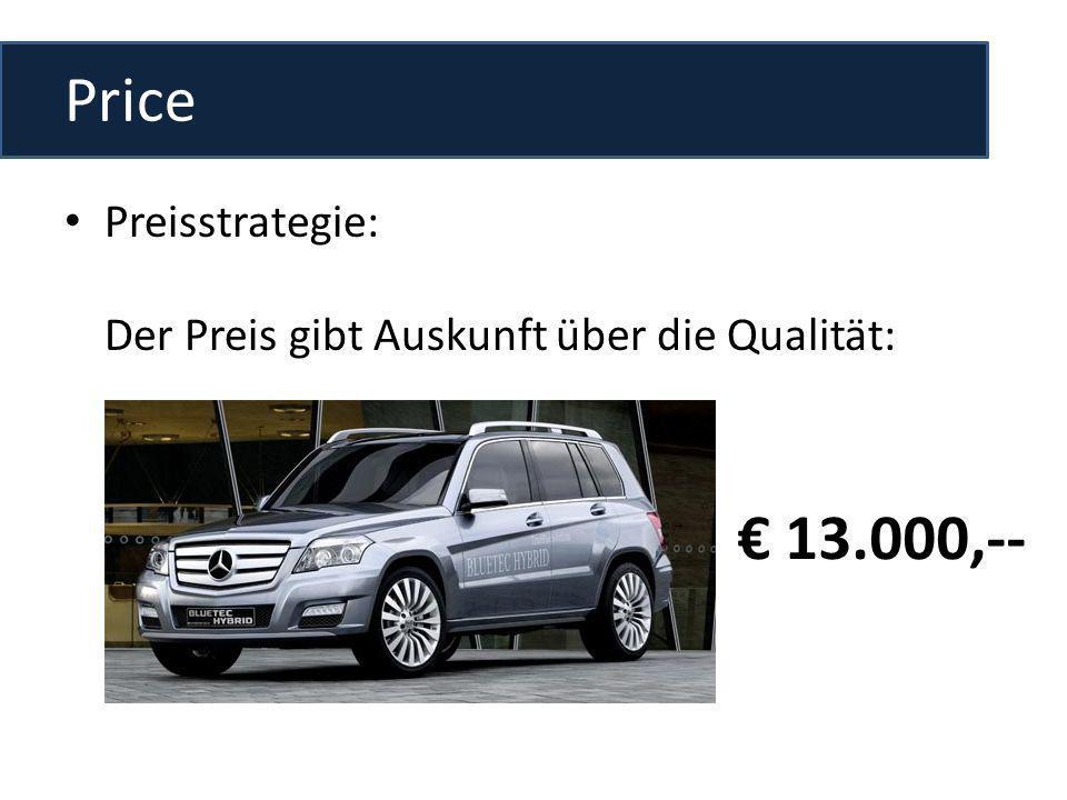 Price Preisstrategie: Der Preis gibt Auskunft über die Qualität: 13.000,--