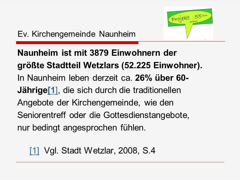 Ev. Kirchengemeinde Naunheim Naunheim ist mit 3879 Einwohnern der größte Stadtteil Wetzlars (52.225 Einwohner). In Naunheim leben derzeit ca. 26% über