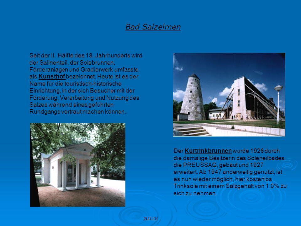 Bad Salzelmen Seit der II. Hälfte des 18. Jahrhunderts wird der Salinenteil, der Solebrunnen, Förderanlagen und Gradierwerk umfasste, als Kunsthof bez
