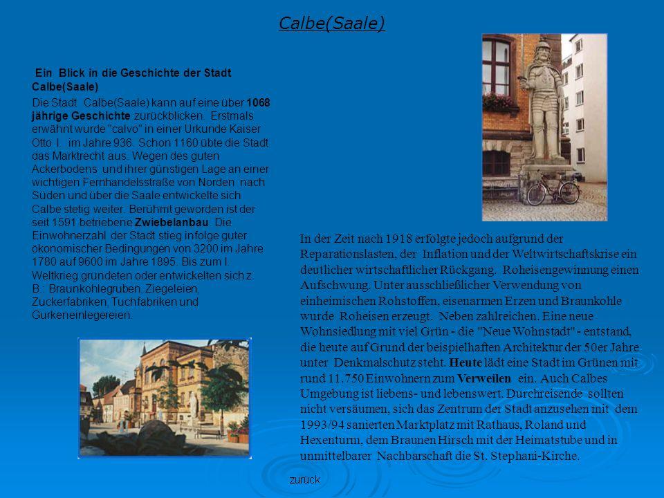 Calbe(Saale) Ein Blick in die Geschichte der Stadt Calbe(Saale) Die Stadt Calbe(Saale) kann auf eine über 1068 jährige Geschichte zurückblicken. Erstm