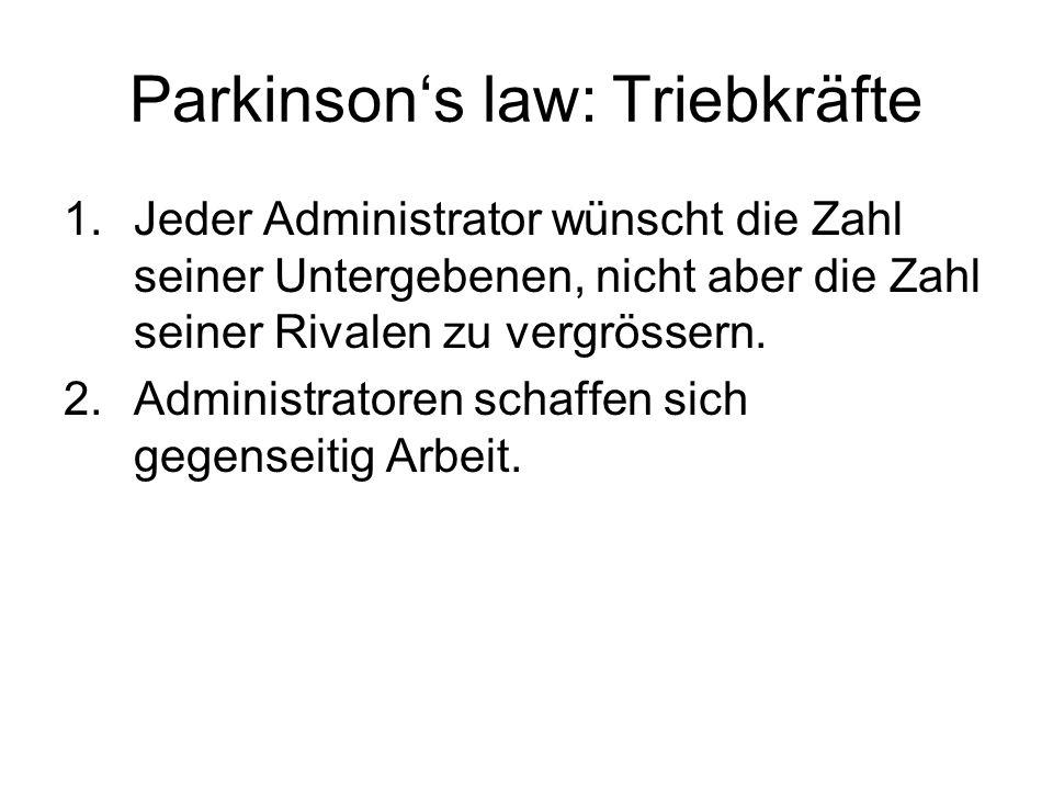 Parkinsons law: Triebkräfte 1.Jeder Administrator wünscht die Zahl seiner Untergebenen, nicht aber die Zahl seiner Rivalen zu vergrössern. 2.Administr