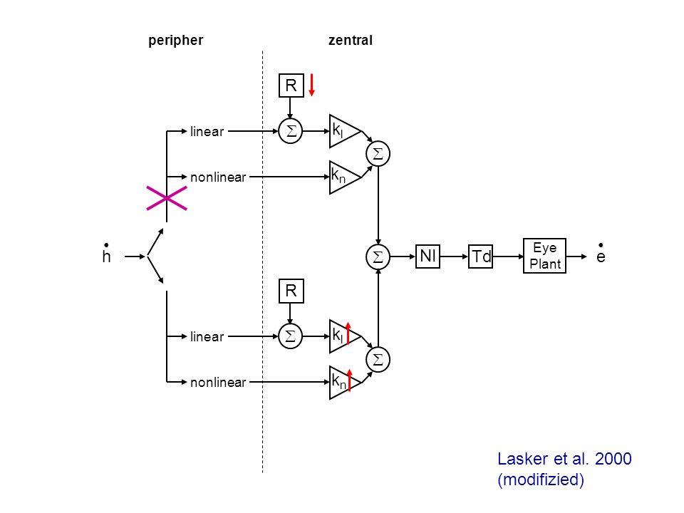 h linear nonlinear linear nonlinear klkl knkn R e klkl knkn R NI Td Eye Plant peripherzentral Lasker et al. 2000 (modifizied)