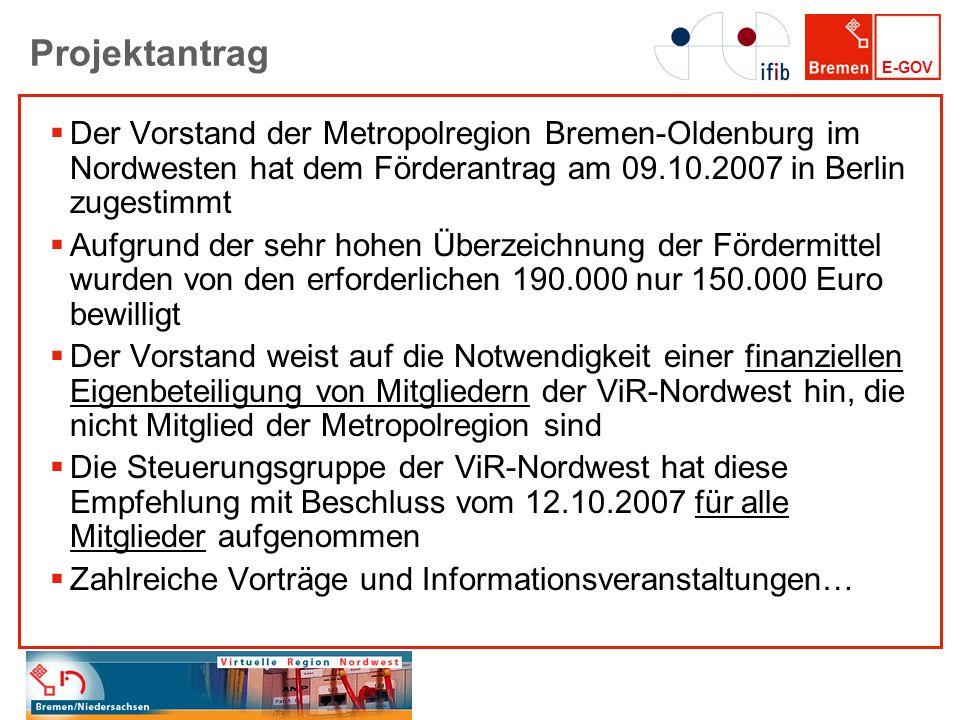 E-GOV Projektantrag Der Vorstand der Metropolregion Bremen-Oldenburg im Nordwesten hat dem Förderantrag am 09.10.2007 in Berlin zugestimmt Aufgrund de