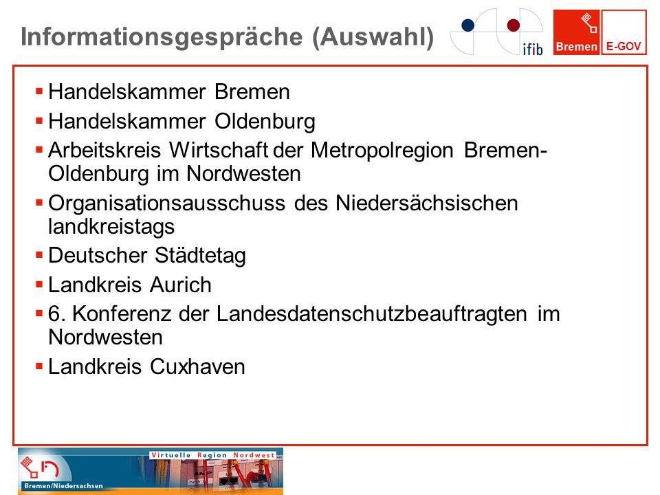 E-GOV Informationsgespräche (Auswahl) Handelskammer Bremen Handelskammer Oldenburg Arbeitskreis Wirtschaft der Metropolregion Bremen- Oldenburg im Nor