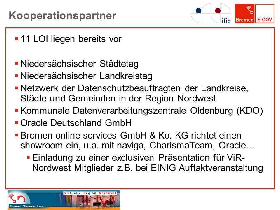 E-GOV Kooperationspartner 11 LOI liegen bereits vor Niedersächsischer Städtetag Niedersächsischer Landkreistag Netzwerk der Datenschutzbeauftragten de