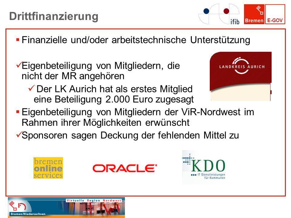 E-GOV Drittfinanzierung Finanzielle und/oder arbeitstechnische Unterstützung Eigenbeteiligung von Mitgliedern, die nicht der MR angehören Der LK Auric