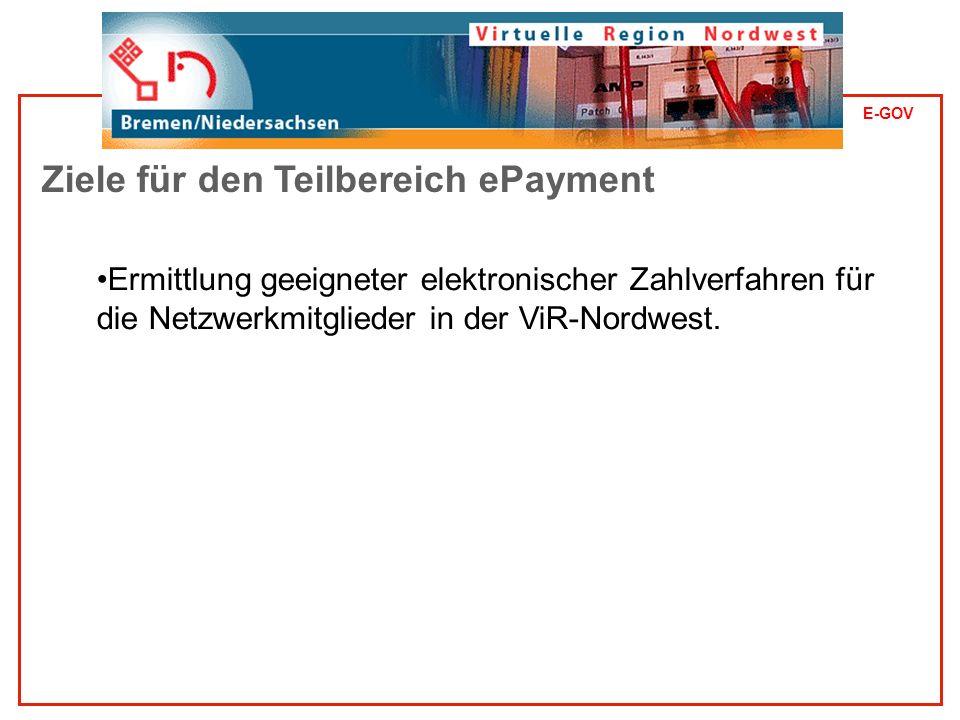 E-GOV Ermittlung geeigneter elektronischer Zahlverfahren für die Netzwerkmitglieder in der ViR-Nordwest.