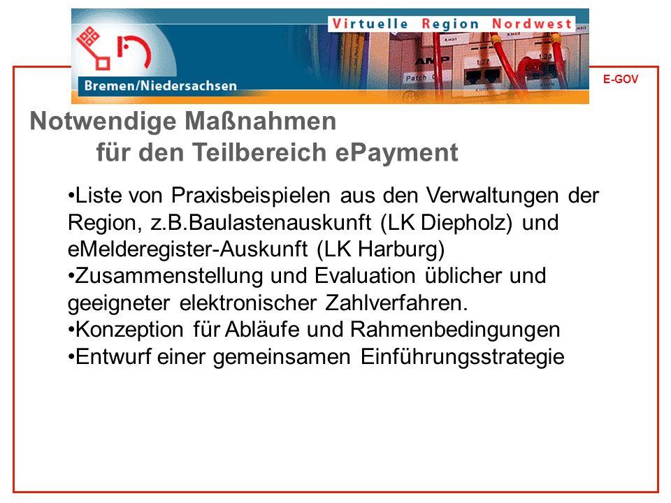 E-GOV Liste von Praxisbeispielen aus den Verwaltungen der Region, z.B.Baulastenauskunft (LK Diepholz) und eMelderegister-Auskunft (LK Harburg) Zusammenstellung und Evaluation üblicher und geeigneter elektronischer Zahlverfahren.