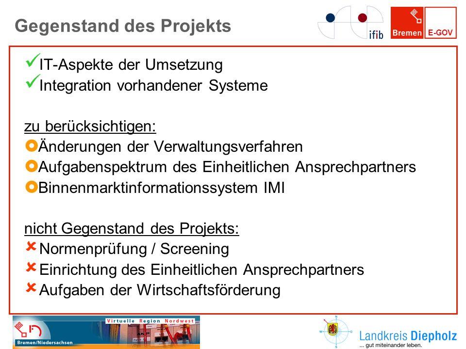 E-GOV Gegenstand des Projekts IT-Aspekte der Umsetzung Integration vorhandener Systeme zu berücksichtigen: Änderungen der Verwaltungsverfahren Aufgabe