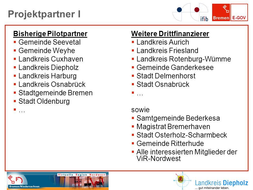 E-GOV Projektpartner I Bisherige Pilotpartner Gemeinde Seevetal Gemeinde Weyhe Landkreis Cuxhaven Landkreis Diepholz Landkreis Harburg Landkreis Osnab