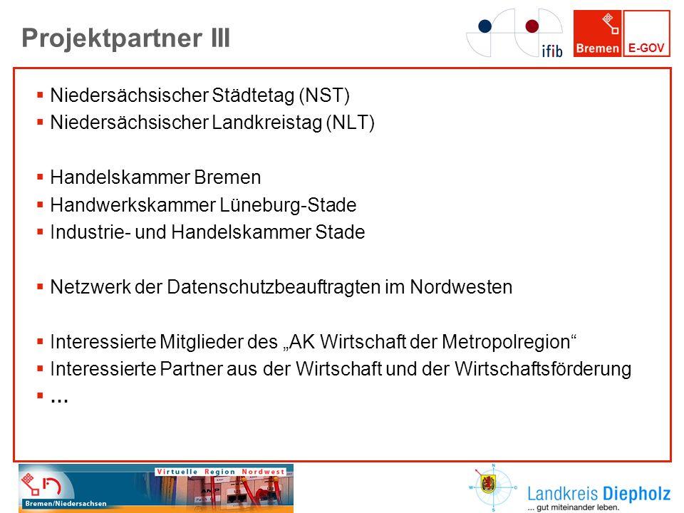 E-GOV Projektpartner III Niedersächsischer Städtetag (NST) Niedersächsischer Landkreistag (NLT) Handelskammer Bremen Handwerkskammer Lüneburg-Stade In