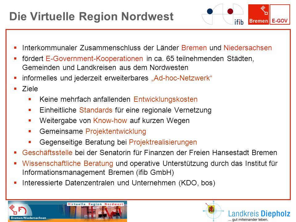 E-GOV Die Virtuelle Region Nordwest Interkommunaler Zusammenschluss der Länder Bremen und Niedersachsen fördert E-Government-Kooperationen in ca. 65 t