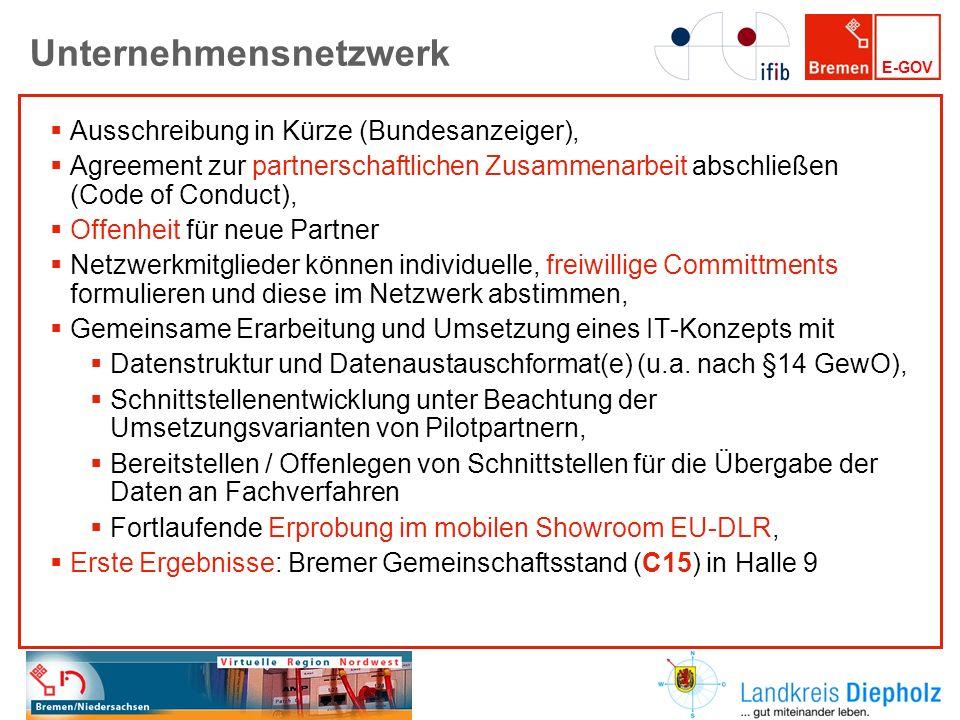 E-GOV Unternehmensnetzwerk Ausschreibung in Kürze (Bundesanzeiger), Agreement zur partnerschaftlichen Zusammenarbeit abschließen (Code of Conduct), Of