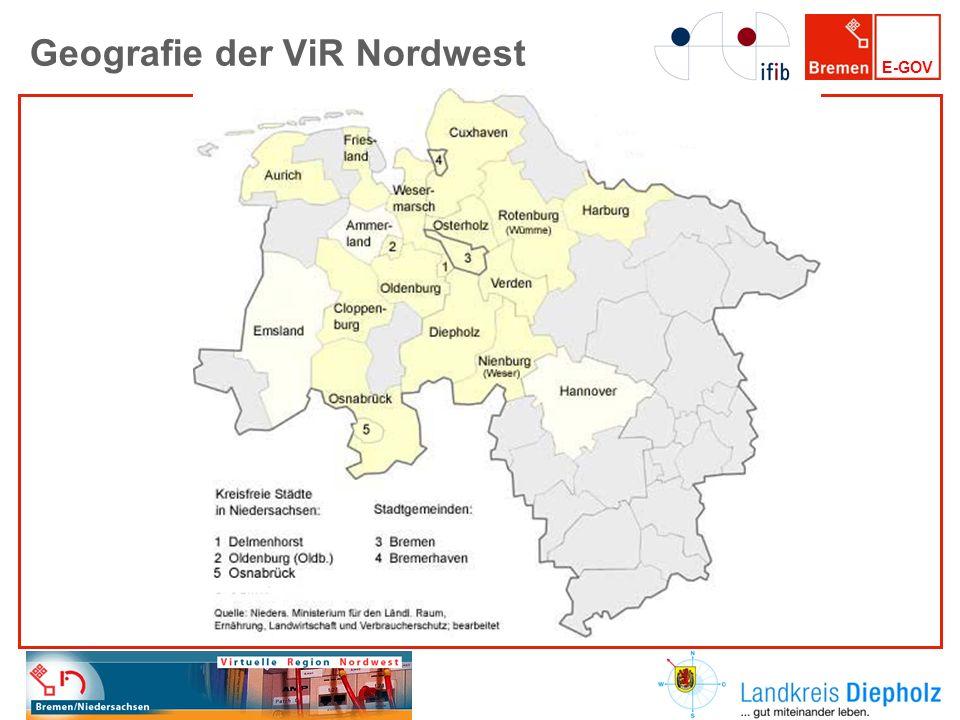 E-GOV ViR Nordwest und die Metropolregion E-Government ist ein wesentliches Element interkommunaler Zusammenarbeit innerhalb der Metropolregion Bremen-Oldenburg im Nordwesten.