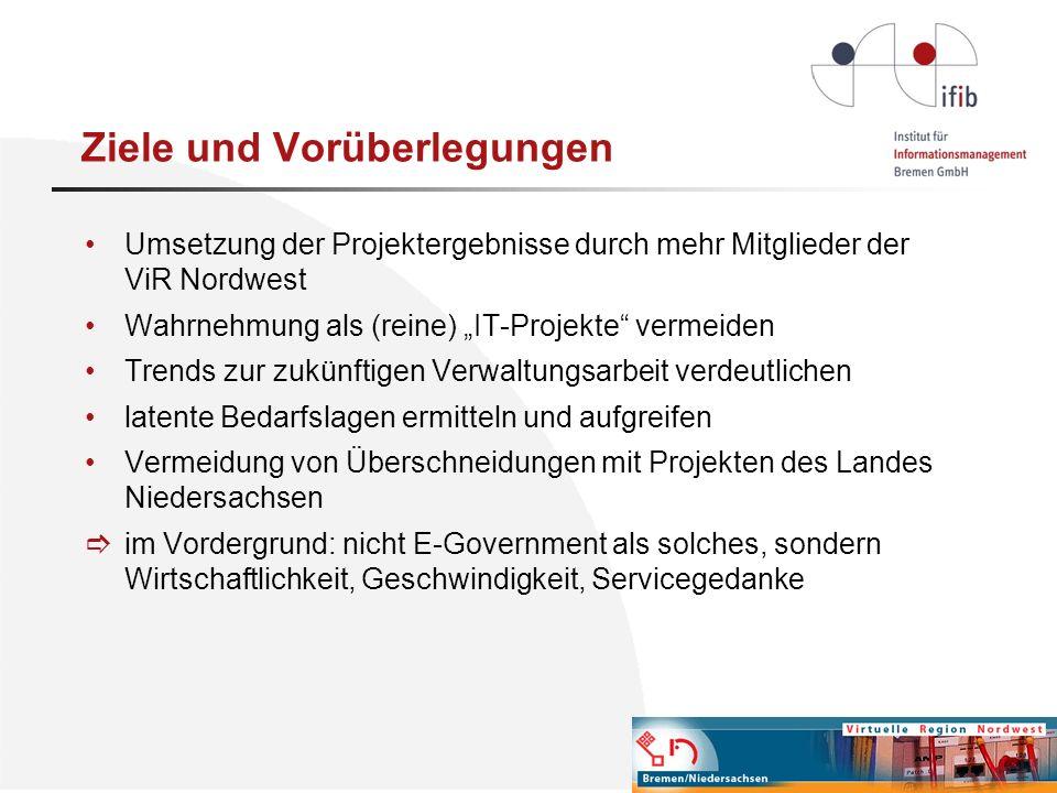 Finanzierungsmöglichkeiten Metropolregion (neuer Antrag an den Förderfonds) Eigenfinanzierung durch interessierte Mitglieder Landesfinanzierung (Projektkooperation zwischen Niedersachsen und Bremen) Mittel aus (noch zu ermittelnden) Töpfen der Regionalförderung
