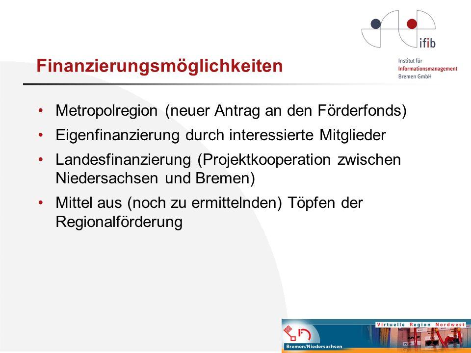 Finanzierungsmöglichkeiten Metropolregion (neuer Antrag an den Förderfonds) Eigenfinanzierung durch interessierte Mitglieder Landesfinanzierung (Proje