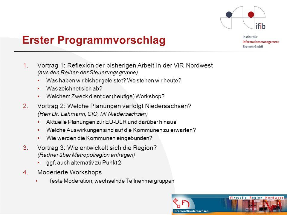 Erster Programmvorschlag 1.Vortrag 1: Reflexion der bisherigen Arbeit in der ViR Nordwest (aus den Reihen der Steuerungsgruppe) Was haben wir bisher g