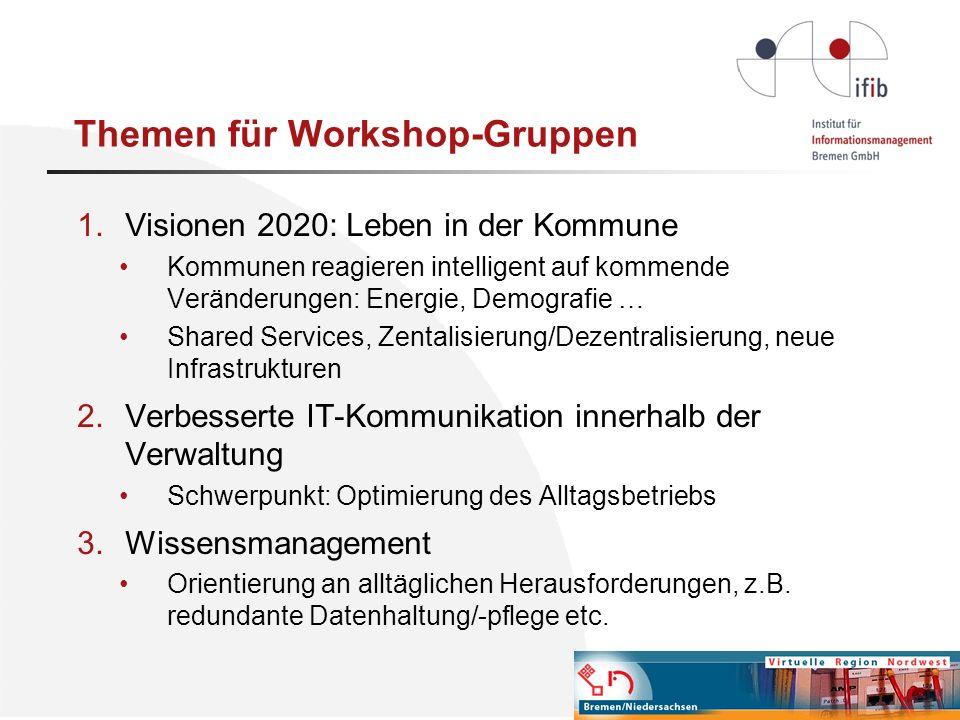 Themen für Workshop-Gruppen 1.Visionen 2020: Leben in der Kommune Kommunen reagieren intelligent auf kommende Veränderungen: Energie, Demografie … Sha