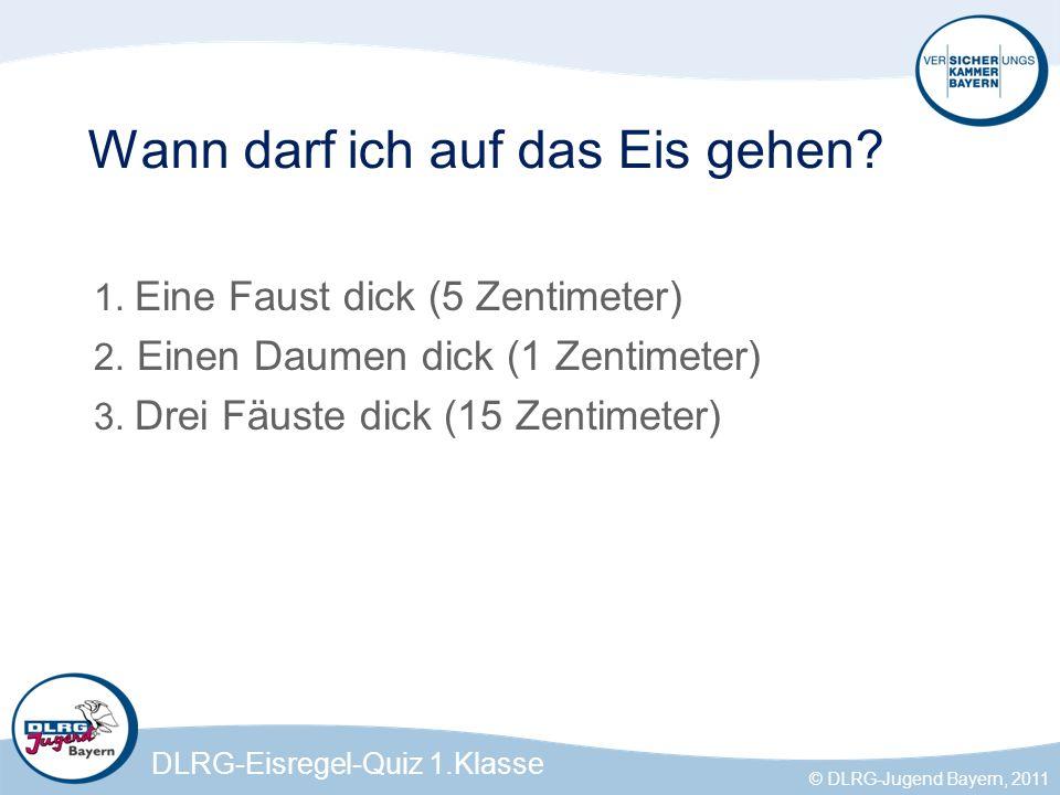 DLRG-Eisregel-Quiz 1.Klasse © DLRG-Jugend Bayern, 2011 Muss ich zum Schlittschuhlaufen jemanden mitnehmen.