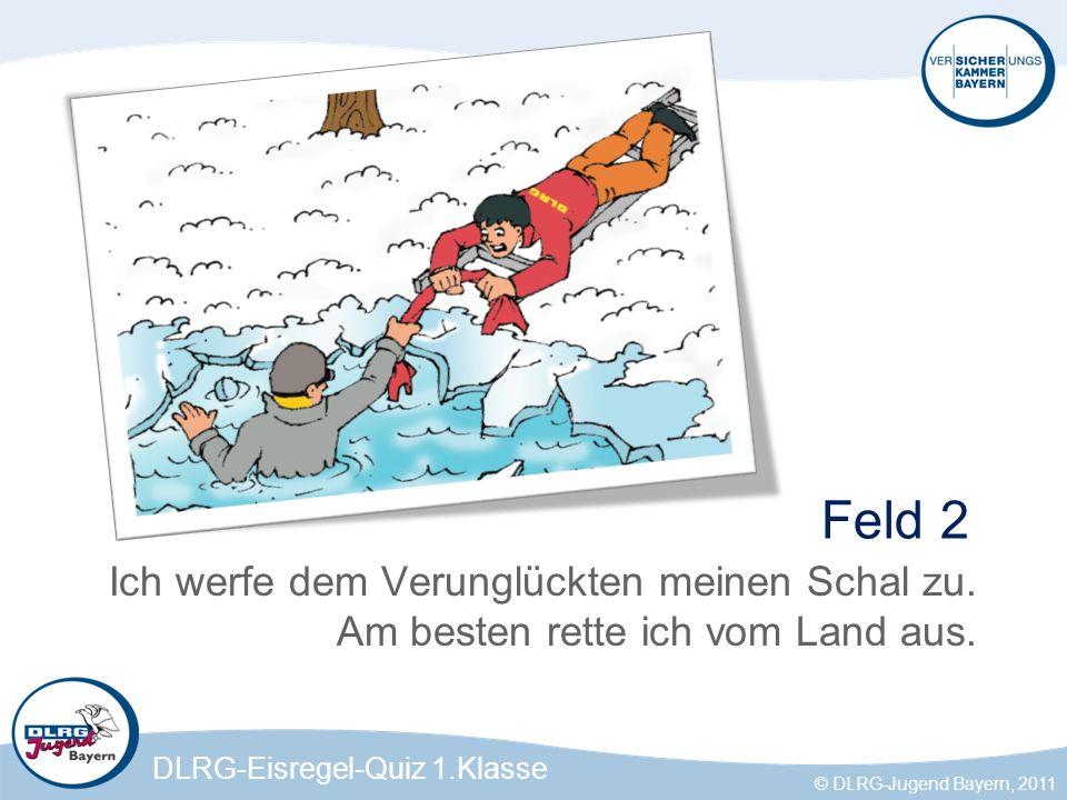 DLRG-Eisregel-Quiz 1.Klasse © DLRG-Jugend Bayern, 2011 Was muss ich tun, wenn mein Freund, nachdem er ins Eis eingebrochen ist, patsch nass ist.