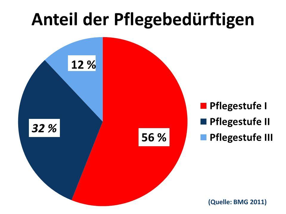 Anteil der Pflegebedürftigen 56 % 32 %