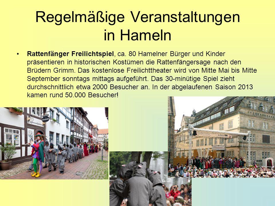 Regelmäßige Veranstaltungen in Hameln Rattenfänger Freilichtspiel, ca. 80 Hamelner Bürger und Kinder präsentieren in historischen Kostümen die Rattenf