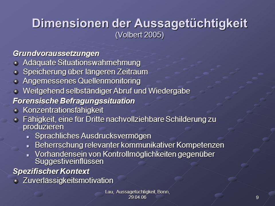 10 Lau, Aussagetüchtigkeit, Bonn, 29.04.06 Begutachtungsprozess bei Aussagetüchtigkeitsbeurteilungen 1.Liegt eine psychische Störung vor.