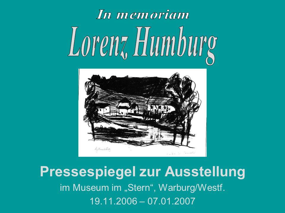 Pressespiegel zur Ausstellung im Museum im Stern, Warburg/Westf. 19.11.2006 – 07.01.2007