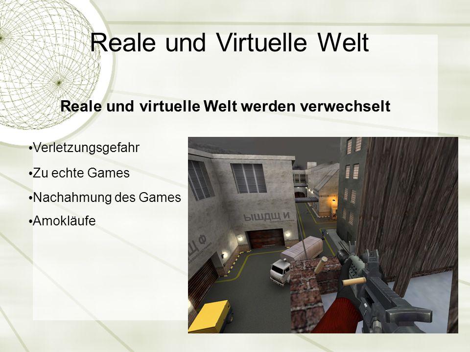 Reale und Virtuelle Welt Reale und virtuelle Welt werden verwechselt Verletzungsgefahr Zu echte Games Nachahmung des Games Amokläufe