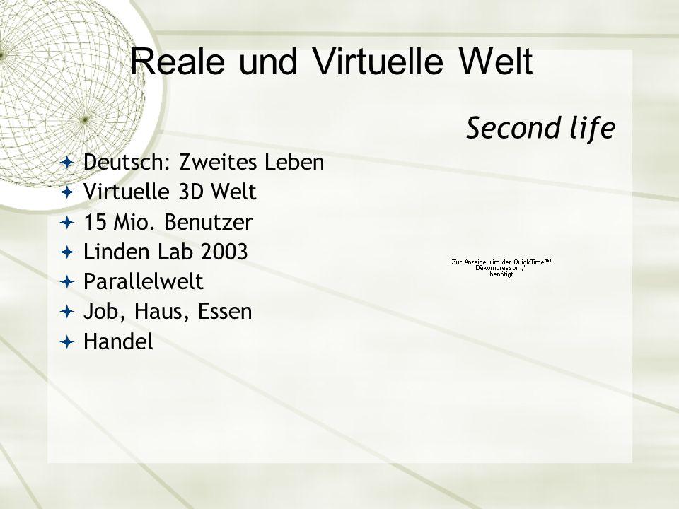 Reale und Virtuelle Welt Second life Deutsch: Zweites Leben Virtuelle 3D Welt 15 Mio.