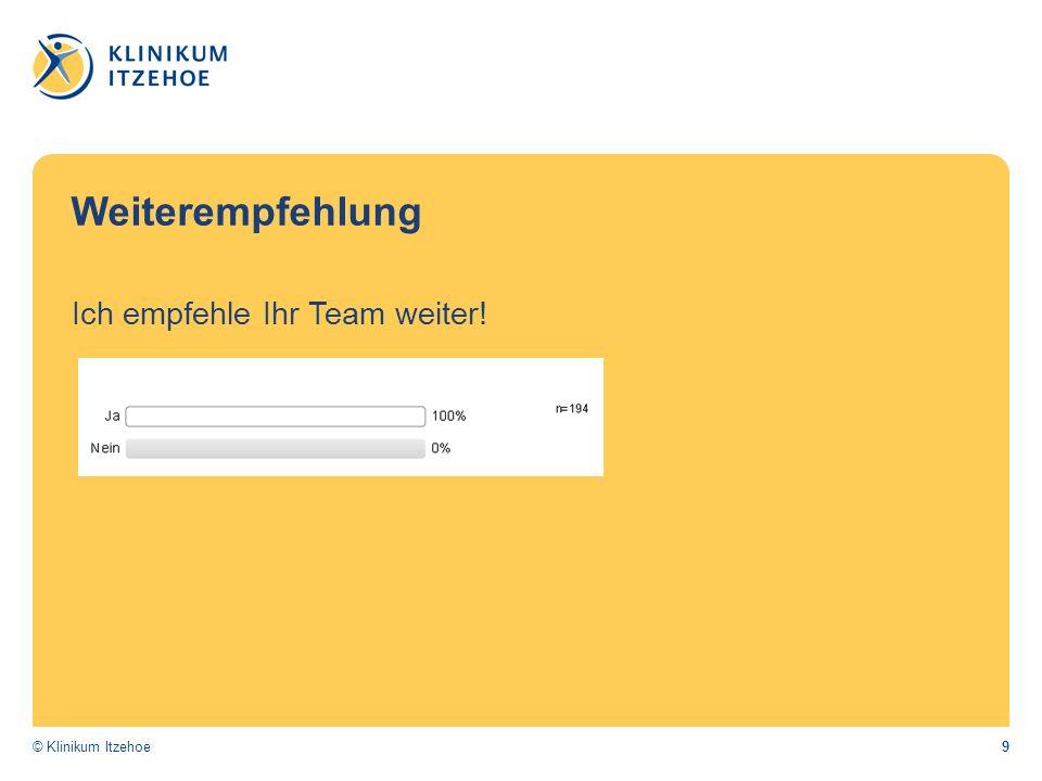 9© Klinikum Itzehoe Weiterempfehlung Ich empfehle Ihr Team weiter!