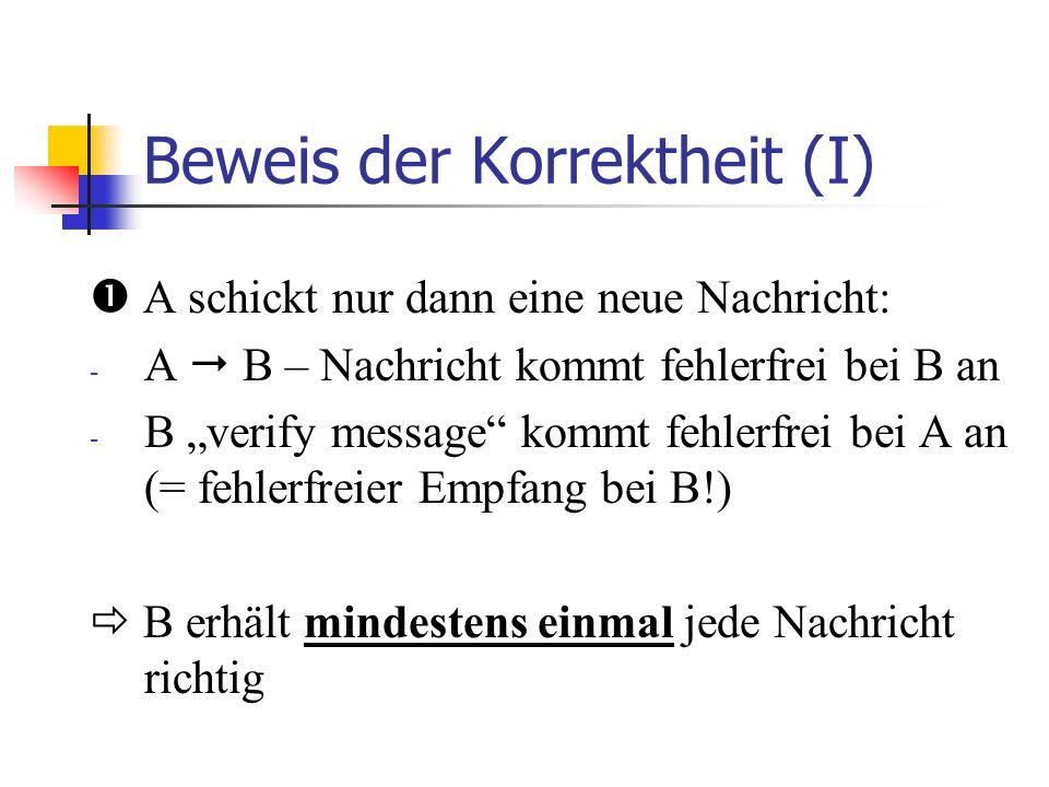 Das 2-Bit Schema von Lynch (tiefgestellte) 0, 1 (bei B oder A): Wert des alternation bit 0,1: Wert des validation bit Terminal A Error A1A1 A1A1 A0A0 A0A0 0 1 1 (0) 0 (1) A1A1 A0A0 0 1 (0) Terminal B 1 1 (0) A1A1 A0A0 Error 0 (1)(1) 1