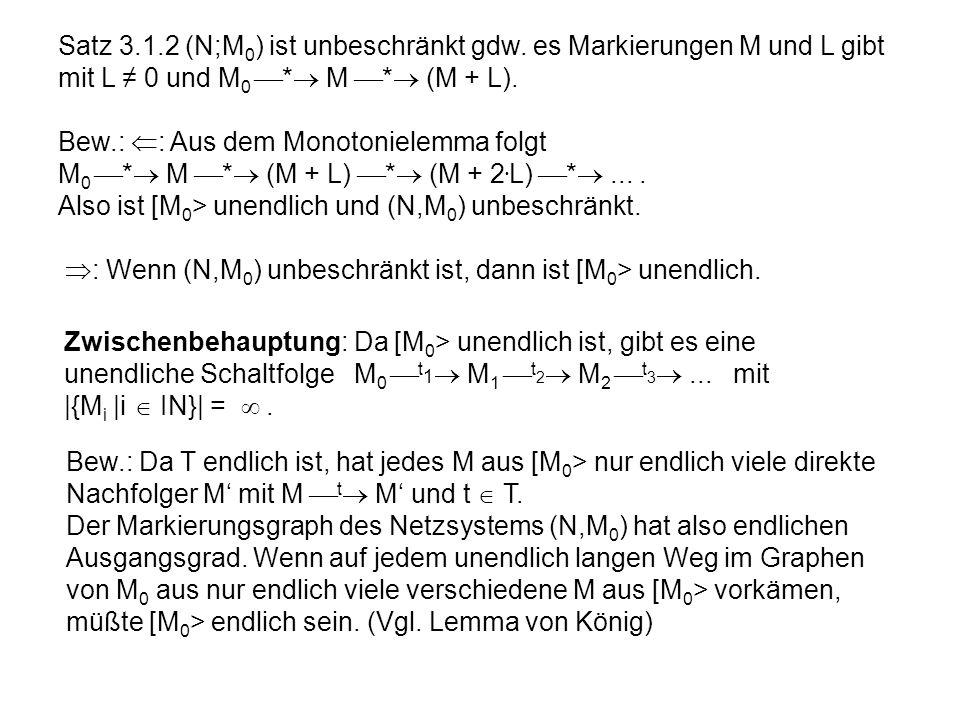 Satz 3.1.2 (N;M 0 ) ist unbeschränkt gdw. es Markierungen M und L gibt mit L 0 und M 0 * M * (M + L). Bew.: : Aus dem Monotonielemma folgt M 0 * M * (