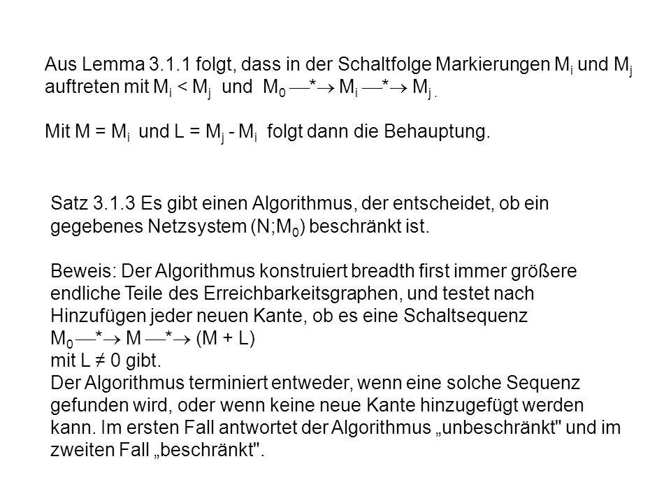 Aus Lemma 3.1.1 folgt, dass in der Schaltfolge Markierungen M i und M j auftreten mit M i < M j und M 0 * M i * M j. Mit M = M i und L = M j - M i fol