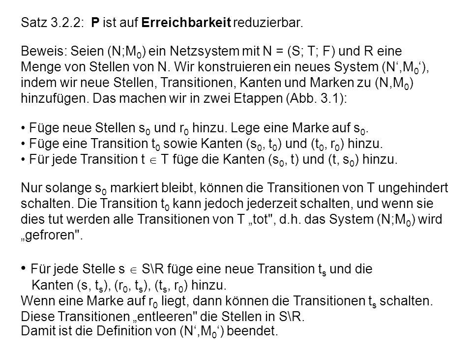 Satz 3.2.2: P ist auf Erreichbarkeit reduzierbar. Beweis: Seien (N;M 0 ) ein Netzsystem mit N = (S; T; F) und R eine Menge von Stellen von N. Wir kons