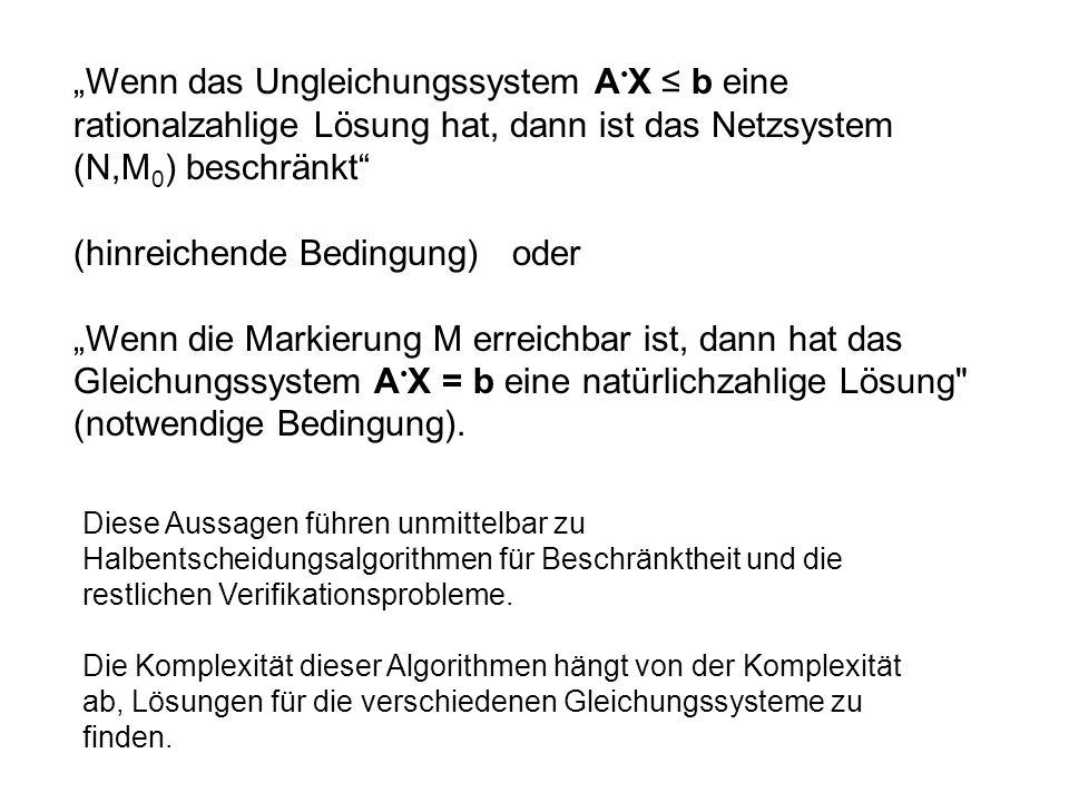 Wenn das Ungleichungssystem A X b eine rationalzahlige Lösung hat, dann ist das Netzsystem (N,M 0 ) beschränkt (hinreichende Bedingung) oder Wenn die
