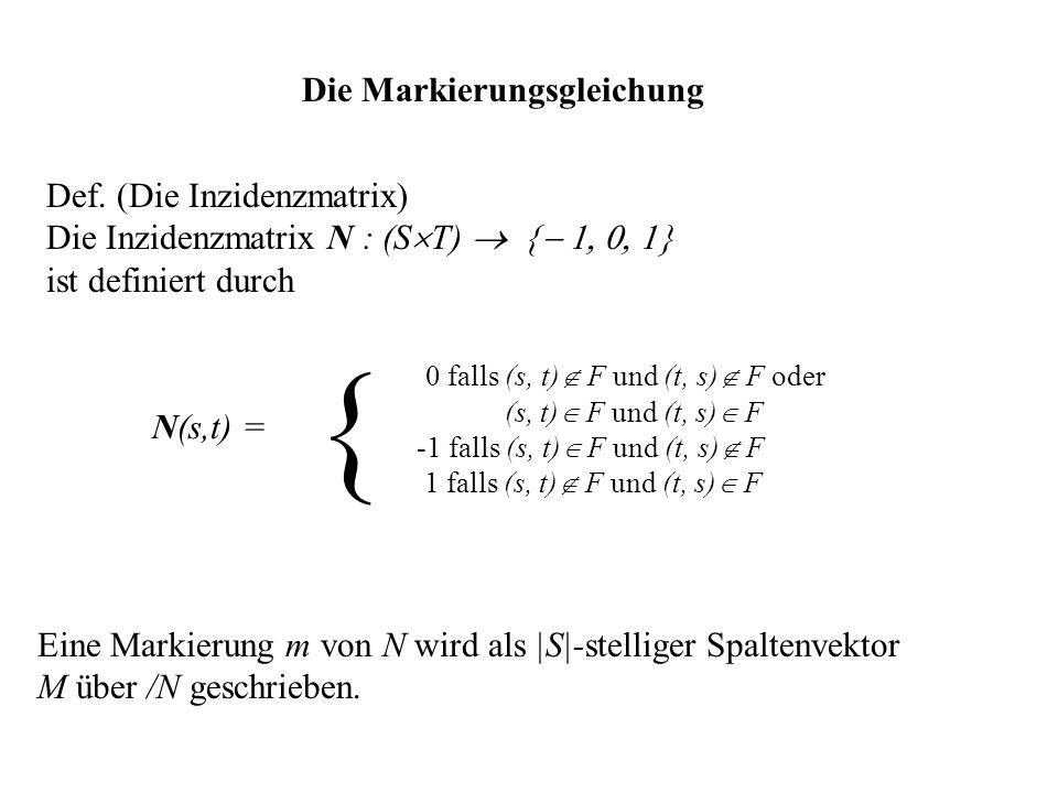 Die Markierungsgleichung Def. (Die Inzidenzmatrix) Die Inzidenzmatrix N : (S T) ist definiert durch Eine Markierung m von N wird als |S|-stelliger Spa