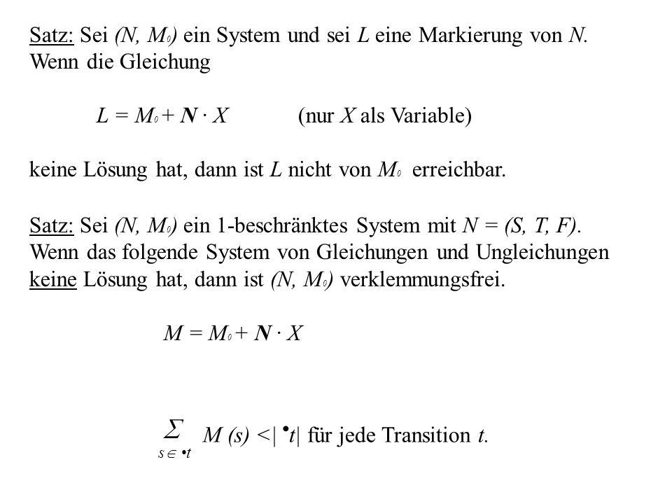 Satz: Sei (N, M 0 ) ein System und sei L eine Markierung von N. Wenn die Gleichung L = M 0 + N · X(nur X als Variable) keine Lösung hat, dann ist L ni