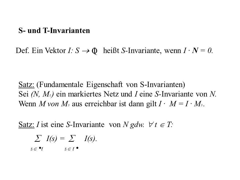 S- und T-Invarianten Satz: (Fundamentale Eigenschaft von S-Invarianten) Sei (N, M 0 ) ein markiertes Netz und I eine S-Invariante von N. Wenn M von M