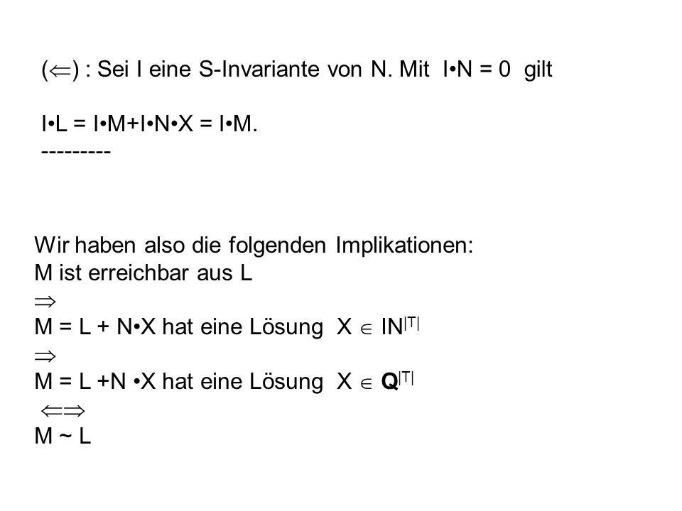 ( ) : Sei I eine S-Invariante von N. Mit IN = 0 gilt IL = IM+INX = IM. --------- Wir haben also die folgenden Implikationen: M ist erreichbar aus L M
