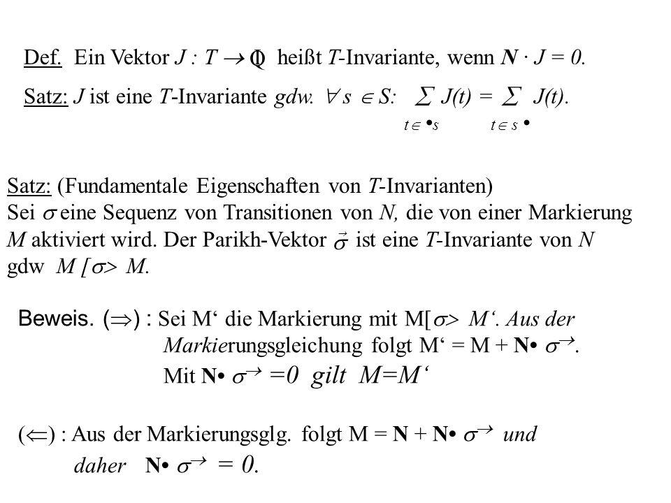 Satz: J ist eine T-Invariante gdw. s S: t s J(t) = t s J(t). Def. Ein Vektor J : T heißt T-Invariante, wenn N · J = 0. I Q Satz: (Fundamentale Eigensc