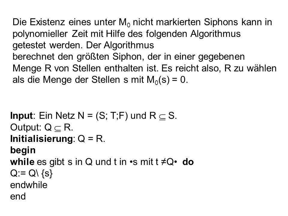 Die Existenz eines unter M 0 nicht markierten Siphons kann in polynomieller Zeit mit Hilfe des folgenden Algorithmus getestet werden. Der Algorithmus
