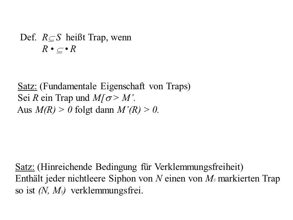 Def. R S heißt Trap, wenn R R Satz: (Fundamentale Eigenschaft von Traps) Sei R ein Trap und M[ > M. Aus M(R) > 0 folgt dann M(R) > 0. Satz: (Hinreiche