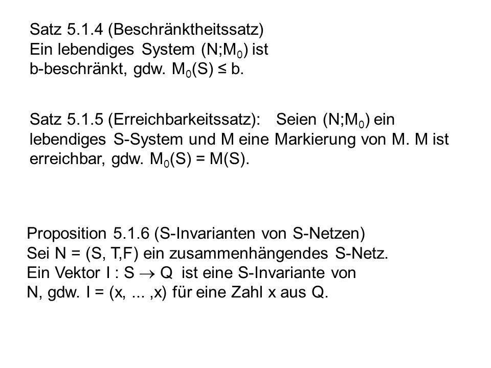 Satz 5.1.4 (Beschränktheitssatz) Ein lebendiges System (N;M 0 ) ist b-beschränkt, gdw. M 0 (S) b. Satz 5.1.5 (Erreichbarkeitssatz): Seien (N;M 0 ) ein