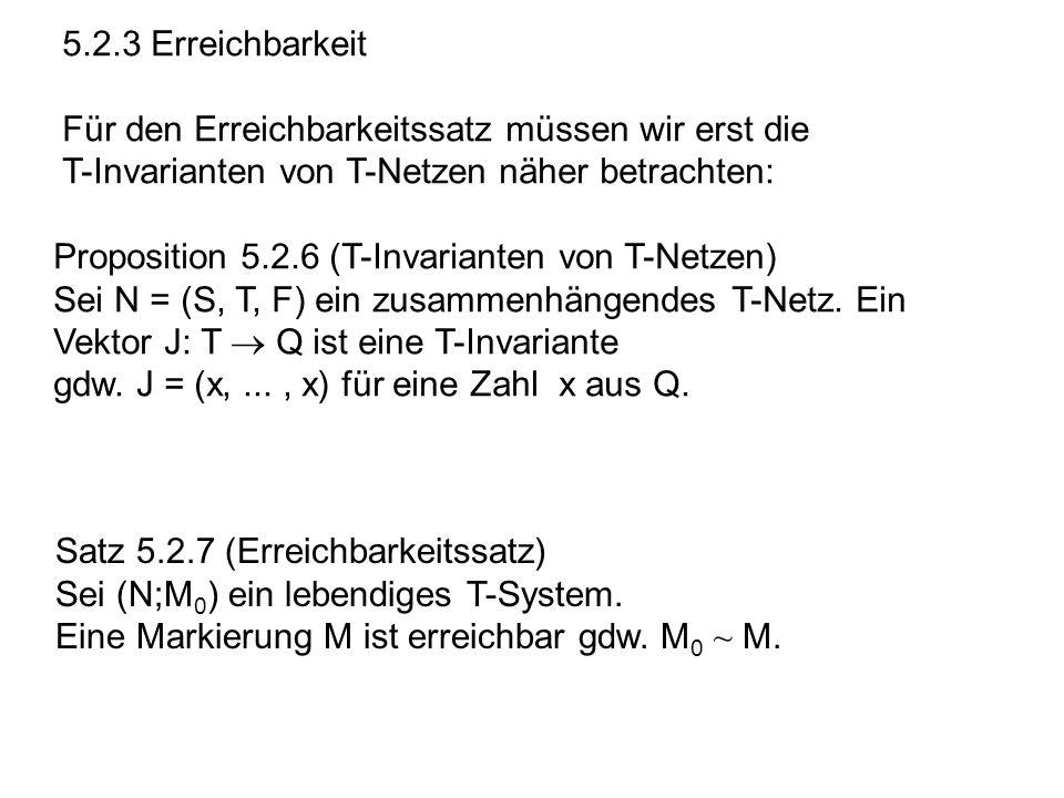 5.2.3 Erreichbarkeit Für den Erreichbarkeitssatz müssen wir erst die T-Invarianten von T-Netzen näher betrachten: Proposition 5.2.6 (T-Invarianten von