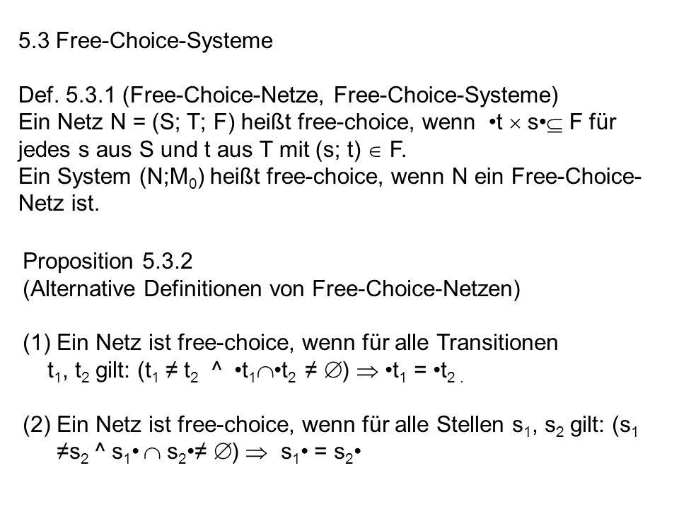 5.3 Free-Choice-Systeme Def. 5.3.1 (Free-Choice-Netze, Free-Choice-Systeme) Ein Netz N = (S; T; F) heißt free-choice, wenn t s F für jedes s aus S und