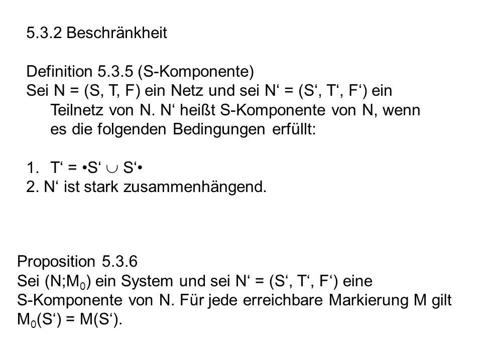 5.3.2 Beschränkheit Definition 5.3.5 (S-Komponente) Sei N = (S, T, F) ein Netz und sei N = (S, T, F) ein Teilnetz von N. N heißt S-Komponente von N, w